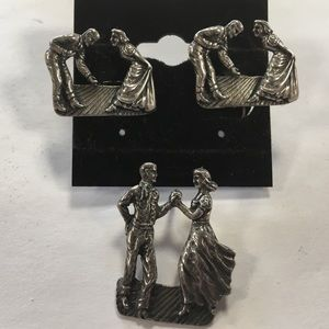 Jewelry - Sterling Dancing Couple Earrings, Tie Tack, #MO114